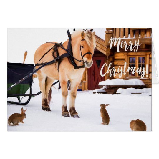 Christmas country farm idyll outdoor in snow card