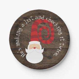 Christmas Country Wood Santa Rustic Paper Plate