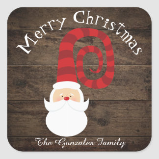 Christmas Country Wood Santa Rustic Square Sticker