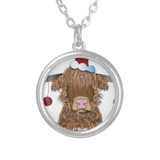 Christmas Cow Silver Plated Necklace