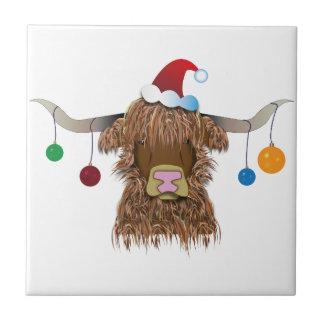 Christmas Cow Tile