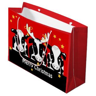 Christmas Cows Funny LG GB Large Gift Bag