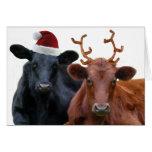 Christmas Cows in Santa Hat and Antlers