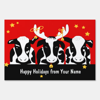 Christmas Cows Large Yard Sign