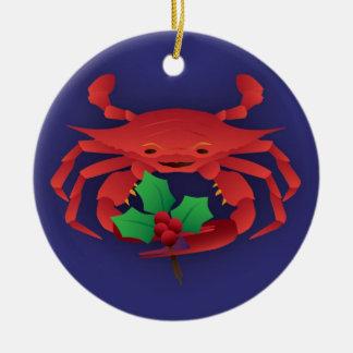 Christmas Crab Round Ceramic Ornament