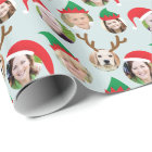 Christmas Crew Custom Six Photo Funny Holiday Gift Wrapping Paper