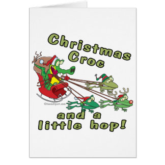christmas croc a little hop frogs and crocodile card