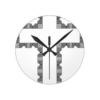 christmas cross round clock