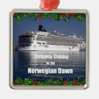 Christmas Cruising on the Norwegian Dawn Silver-Colored Square Ornament