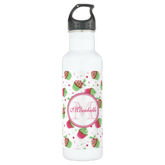 Christmas cupcake design in Christmas colors 710 Ml Water Bottle