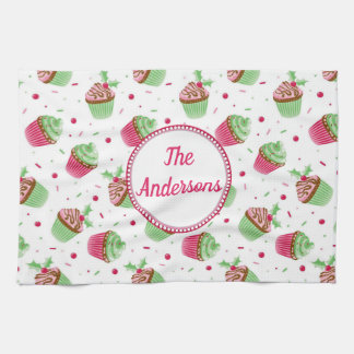 Christmas cupcake design in Christmas colors Kitchen Towel