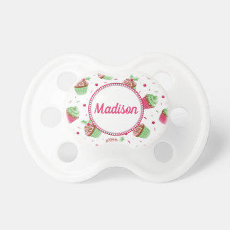 Christmas cupcake design in Christmas colors Pacifier