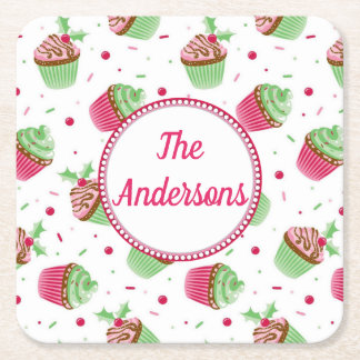 Christmas cupcake design in Christmas colors Square Paper Coaster