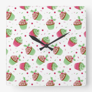 Christmas cupcake design in Christmas colors Square Wall Clock