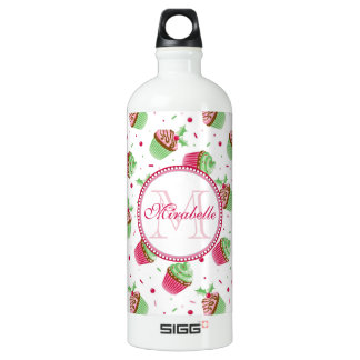 Christmas cupcake design in Christmas colors Water Bottle