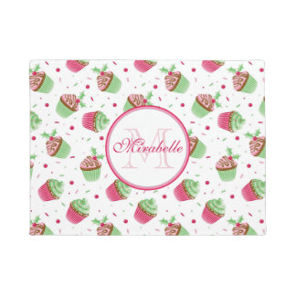 Christmas cupcake design, Name & Monogram Doormat