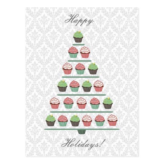 Christmas Cupcake Tree Stand Postcard
