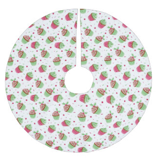 Christmas cupcakes design as Christmas greetings Brushed Polyester Tree Skirt