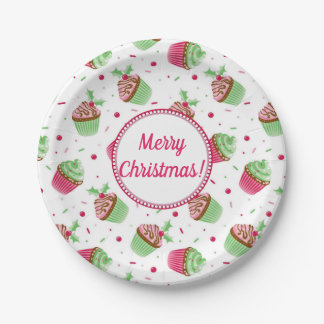 Christmas cupcakes design with Christmas greetings Paper Plate