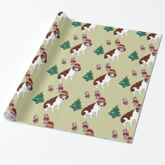 Christmas Custiom St. Bernard dog  wrapping paper