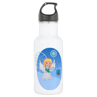 Christmas cute cartoon angel with blue star staff 532 ml water bottle