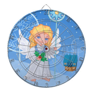 Christmas cute cartoon angel with blue star staff dartboard