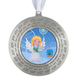 Christmas cute cartoon angel with blue star staff pewter ornament
