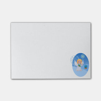 Christmas cute cartoon angel with blue star staff post-it® notes
