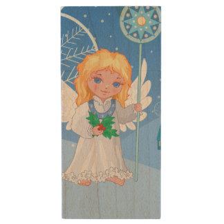 Christmas cute cartoon angel with blue star staff wood USB flash drive