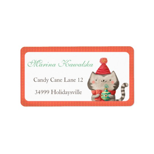 Christmas Cute Cat Address Labels