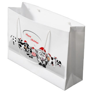 Christmas Cute Cows Happy Holidays Large Gift Bag