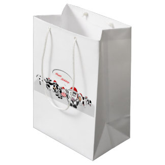 Christmas Cute Cows Happy Holidays Medium Gift Bag
