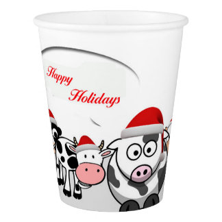 Christmas Cute Cows Happy Holidays Paper Cup