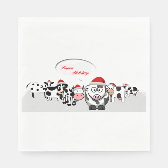 Christmas Cute Cows Happy Holidays Paper Napkin