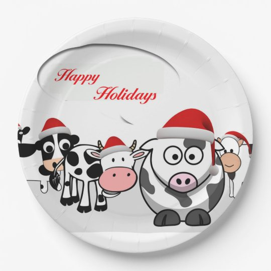 Christmas Cute Cows Happy Holidays Paper Plate