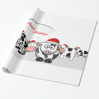 Christmas Cute Cows Happy Holidays Wrapping Paper