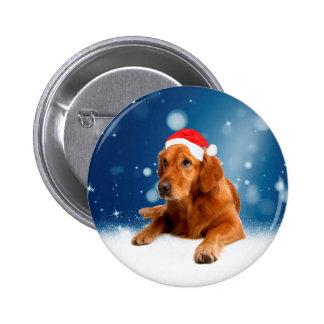 Christmas Cute Golden Retriever Dog Santa Hat Snow 2 Inch Round Button