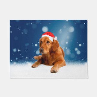 Christmas Cute Golden Retriever Dog Santa Hat Snow Doormat
