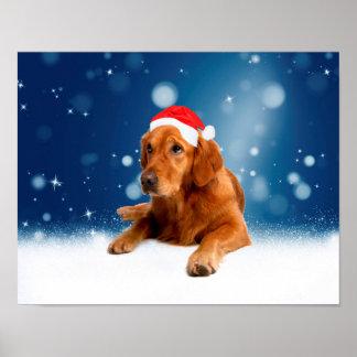 Christmas Cute Golden Retriever Dog Santa Hat Snow Poster