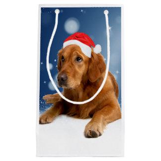 Christmas Cute Golden Retriever Dog Santa Hat Snow Small Gift Bag