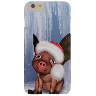 Christmas, cute little piglet barely there iPhone 6 plus case