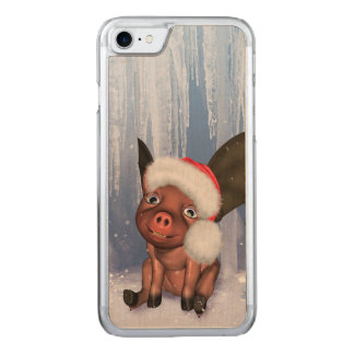 Christmas, cute little piglet carved iPhone 8/7 case