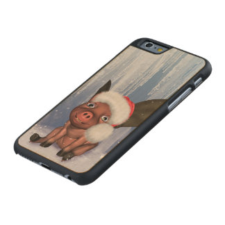 Christmas, cute little piglet carved maple iPhone 6 case