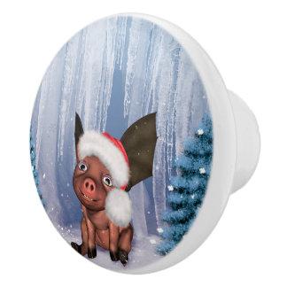 Christmas, cute little piglet ceramic knob