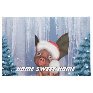 Christmas, cute little piglet doormat