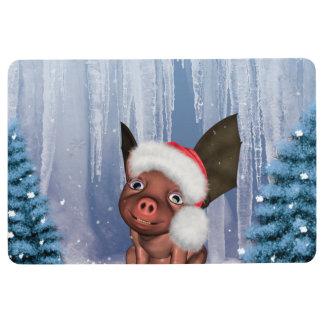 Christmas, cute little piglet floor mat