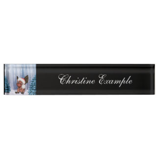 Christmas, cute little piglet name plate