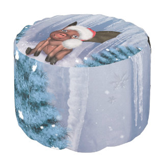 Christmas, cute little piglet pouf