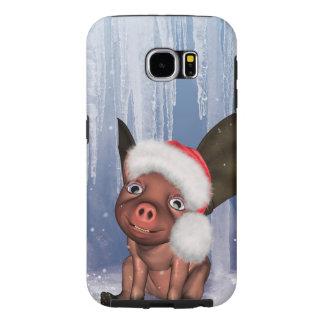 Christmas, cute little piglet samsung galaxy s6 cases