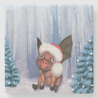 Christmas, cute little piglet stone coaster